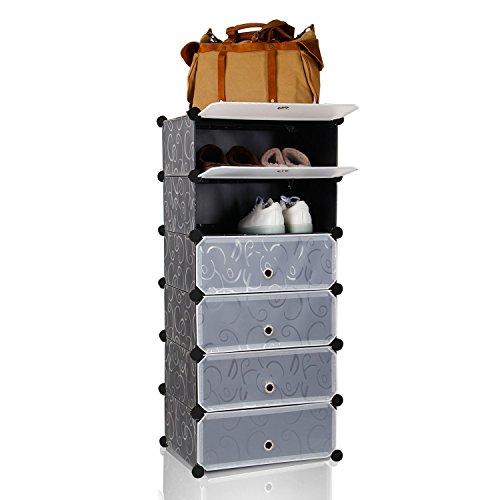 Lifewit scarpiera cabina modulare multiusi in plastica fai da te organizzatore di scarpe oggetti con porte nero