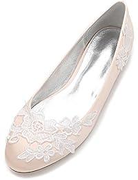 53bd522597 Qingchunhuangtang@ Flache Mund Runden Kopf Damenschuhe Hochzeit Schuhe  Seide Satin Groß, Flat-Bottomed