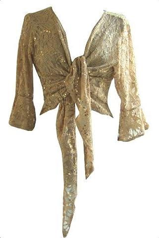 Pantalon Femme Dore - Doré (Lace Sequind Shrug) Boléro/Gilet Dentelle Pailletté.