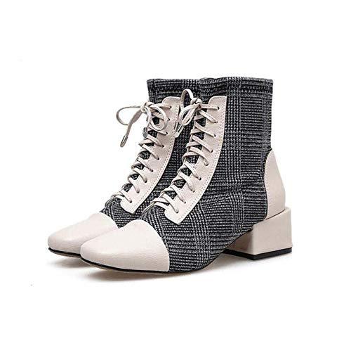 4.5 Centimetri Pizzo Fino Martin Boot Donna Moda Piazza Toe ColorMatch Caviglia Bootie OL Corte Scarpe EU Dimensioni 35-40,Beige,37EU
