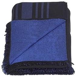 Grande 100% algodón doble cara toalla de playa pareo toalla de baño, color negro con patrón de rayas, color azul