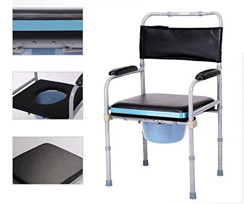Bariatric Faltbare Rollstuhl (Gxyue Verstellbarer Nachttisch-Kommodenstuhl mit Eimer - Healthcare Faltbarer WC-Badstuhl für Behindertenmobilitätshilfe Assist)