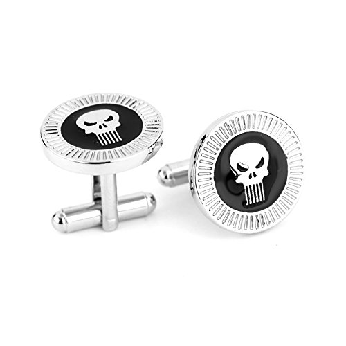 Ss Silver-Tone The Punisher Cufflinks for Men  available at amazon for Rs.799