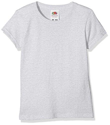 Fruit of the Loom Mädchen T-Shirt Sofspun T Girls, Grau (Heather Grey 123), Herstellergröße: 140 (9-11)