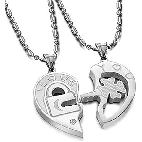 Findout in titanio da donna, in acciaio con serratura e chiave, coppia forever-Collana con pendente, per bambina, f1116