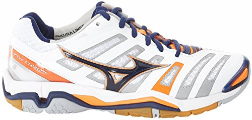 Mizuno Wave Stealth, Chaussures de Handball Américain Homme Multicolore (White/blue Depths/orange Clown Fish)