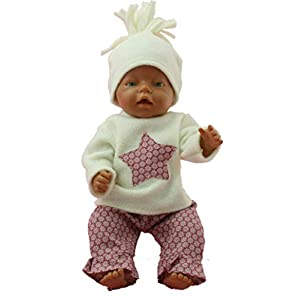Puppenkleidung in Handarbeit gefertigt 43 cm passend für zb Baby Born Bekleidung Kleidung Set 02