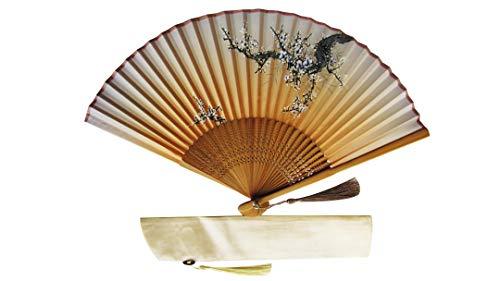 CHN Elements-Fan-7-Orientalischer Bambus Faltfächer mit Abdeckung, Cherry Bloosom Design Hellbraun -