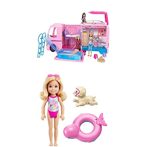 Barbie Mattel FBR34 - Super Abenteuer-Camper + Barbie FCJ28 Magie der Delfine Chelsea und Farbwechsel-Rettungsring