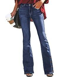 44f0519b8c Aleumdr Mujer Pantalones Acampanados Vaqueros Cintura Alta Jeans de Mujer  Size S-XXL