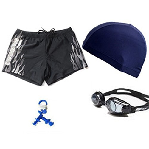 BUKUANG Boxer Der Männer Badehose Anzug Schwimmen Wasserdichte Schutzbrille Mütze Ohr Nasenklammer Schwimmen White