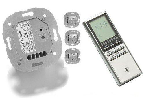5-teiliges Set Funk-Jalousieschalter mit 4 Rollladen- Rohrmotor- Funkschalter + 1 Funktimer mit 12 Programmen und Zufallsmodus. Markenfabrikat Intertechno - S-ITZ-500_4x-ITL-500.