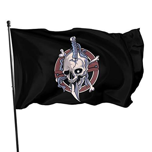 BAGR Personalisierte Totenkopf-Gartenflagge, Dekoration für Zuhause, Haus, Hof, Outdoor Party Supplies, Schwarz, Einheitsgröße