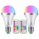 LED E27 Farbige Leuchtmittel 10W RGBW LED Bulb Farbwechsel Birne mit Fernbedienung, bunt 12 Farben, Dual Memory Funktion für Home Decoration Bar Party KTV Bühneneffekt Lichter, 2-Pack
