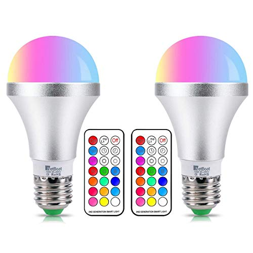 E27 Color Changing Light Bulb Dimmable 10 W RGBW LED Bulb Light with 21 Key Remote Control, Dual Function, 12 Colour choices for home party bar Disco KTV, stage effect light,2-Pack