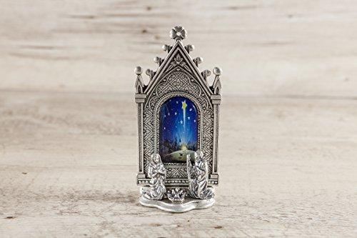 Krippe Gotik mit Bild - Weihnachtsschmuck - Versilbertes Metall