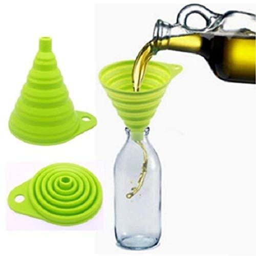 Jaminy Coque en silicone gel pratique Entonnoir pliable, Hopper ustensile de cuisine Gadget