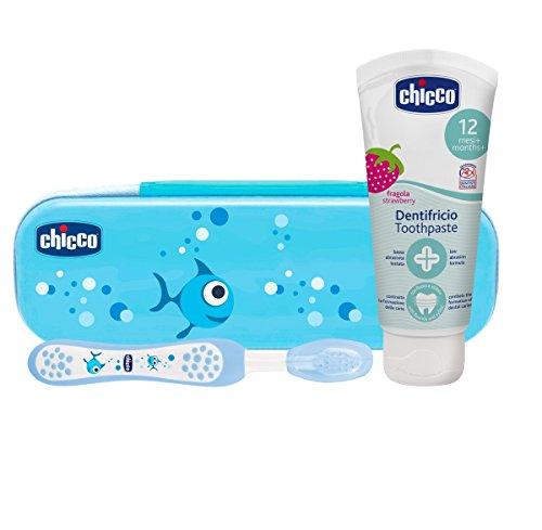 Chicco - Neceser Set cepillo y pasta con flúor 12+ m, azul