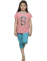 Summer Night Suit for Kids / Girls - Night wear - Track Suits - Capri Tshirt Night Wear Combo Set  -Sinker Material  - Half Sleeve -Pink Color - Branded Valentine Kids Wear -For 6/8/10/12/14/16 Year Girls - Capri and T-shirt