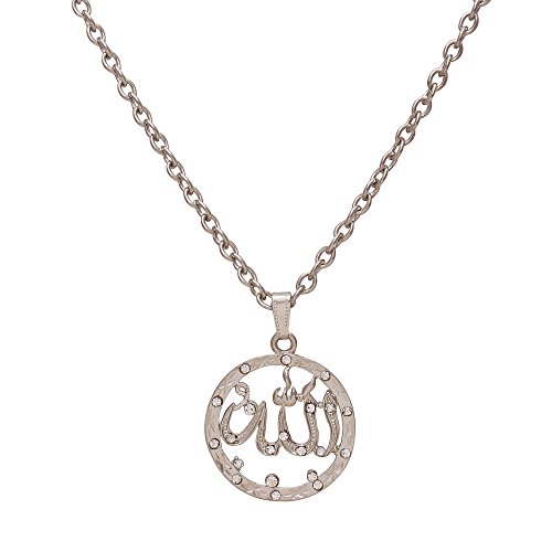 Memoir Silver plated CZ studded Allah word round chain muslim jewellery necklace...