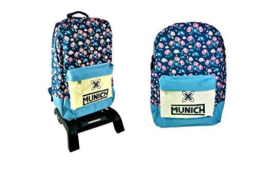 Rucksack München, groß, mit Trolley, mit Blumen. Maße Rucksack: 46 x 32 x 17 cm.