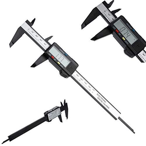 TianranRT 150 mm/6 Zoll LCD Digital Elektronisch Kohlefaser Fibre Nonius Messschieber Messgerät Mikrometer