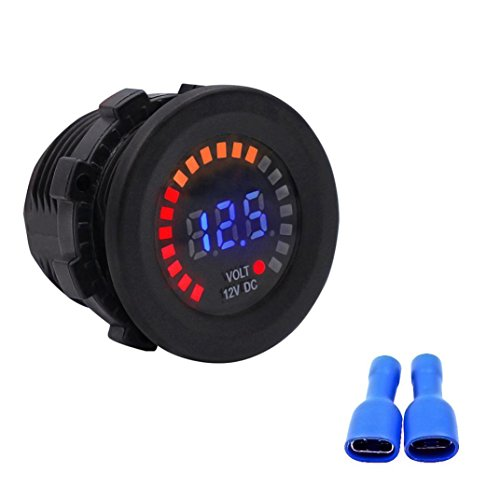 Auto Auto-Boot-Schalter - Kingwo Voltmeter 5V-15V Auto Motorrad LED DC Digital Display Voltmeter Wasserdichte Meter (Cover Power Rangers-boot)