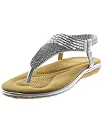 Ajvani - Zapatos para mujer con tacón medio-alto de estilo Mary Jane con pulsera, elegantes, de noche, color azul, talla 36