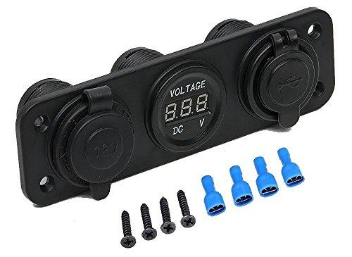 Preisvergleich Produktbild MMOBIEL Universal Wasserdicht 3 Port USB Adapter mit LED Indikator Steckdose 12-24V Ausgabe 5V 2.1A Zigarettenanzünder für Boot Motorrad Mäher Tracktor RV ATV inkl Digitiale Anzeige + Anschluss Set