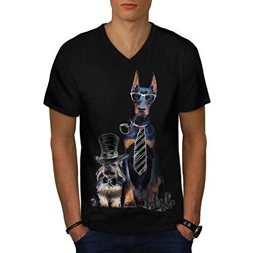 beute-komisch-party-hund-welpe-herren-neu-schwarz-m-t-shirt-wellcoda