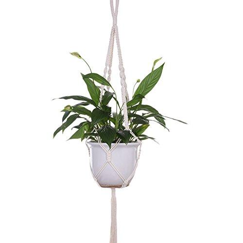 feiledi Trade Makramee Übertopf Hängekorb Pflanze Kleiderbügel Home Decor zum Aufhängen Blumentöpfe Balkon Garten Decor Handgefertigt natürlichen Seil Haken (Pflanzen-decke Haken)