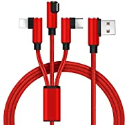 Multi Charging Cable,1.5m/5ft 3 in 1 Multiple 90 Degree USB Charger Cord with iPhone/Type C/Micro USB Connecto