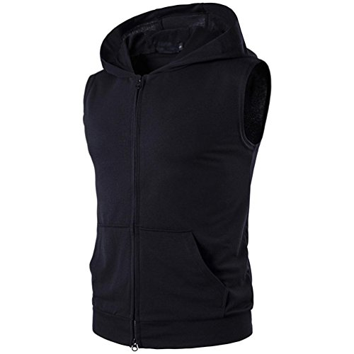 Herrenhemd, masrin Einzelne Farbe Kapuzenweste Zipper opeing Fitness Sportbekleidung (Schwarz, XL-B100CM/S42CM)