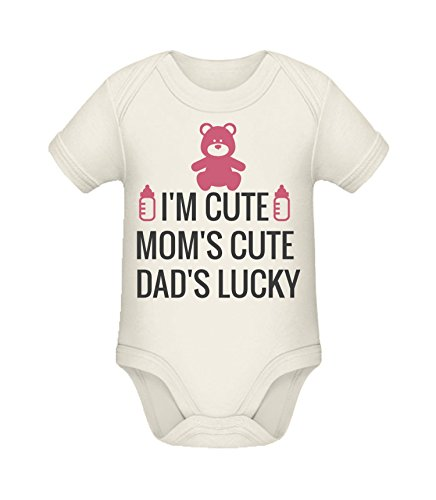 Babybody mit Aufdruck | I'm cute mom't cute dad's lucky | Strampler Babybody von Shirtinator® Organic Natural 6-9 mths (Kleidung Mth)