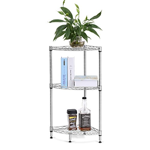 3 Tier Corner Shelf Storage Rack Free Standing Wire Mesh