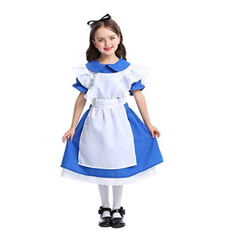Jeff-chy Halloween Prinzessin Dress Performance Kleidung Dunkelblau Mädchen Kostüm Alice Im Wunderland Maid Kostüm (Alice Im Wunderland Kostüm Für Kleine Mädchen)