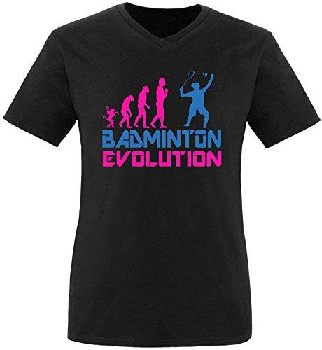 EZYshirt® Badminton Evolution Herren V-Neck T-Shirt Schwarz/Pink/Blau