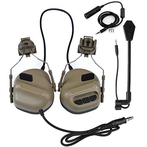 SGOYH Airsoft Paintball Jagdaktivitäten Helm Seitenschiene Kopfhörer Wasserdichtes Taktisches Headset mit Mikrofon Funktionskopfhörer und PTT (DE)