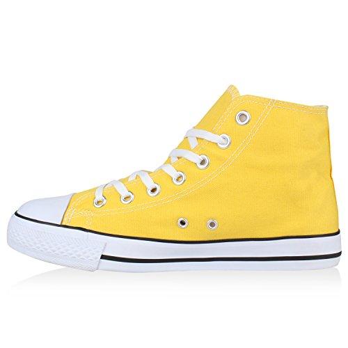 Herren Schuhe Sneakers Sneaker High Denim Turnschuhe Camouflage Stoffschuhe Schnürer Flandell Gelb