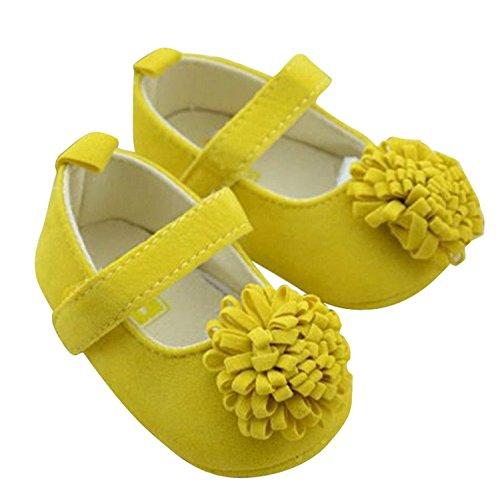 DEHANG - Chaussures / Chaussons de Bébé Fille - Semelle Souple Antidérapantes - Fleur Rose Jaune