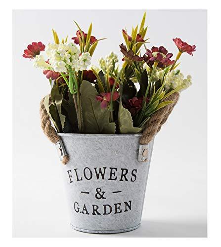 Blumen in Metalltopf mit Seil-Griff, Mini-Strauß für drinnen und draußen, Hochzeitsdekoration, Hot Pink ()