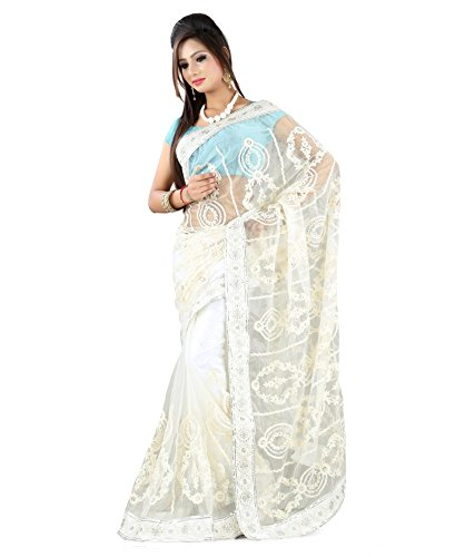 Yuvati Sarees Net Saree (9189_White)