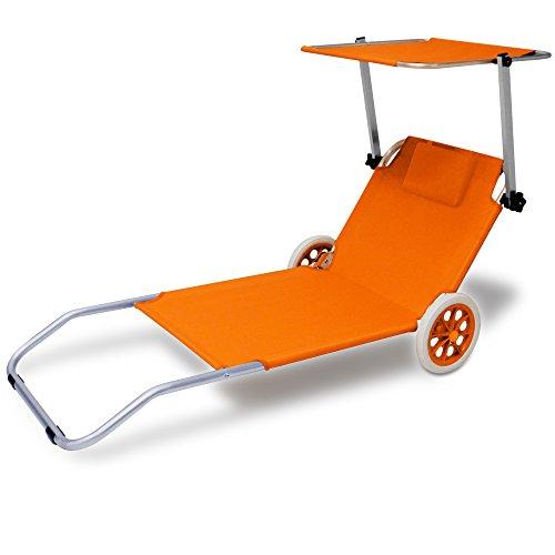 Deuba Alu Sonnenliege Kreta mit Dach klappbar 2 Räder Strandliege Gartenliege Strandrolli Liege Farbauswahl orange