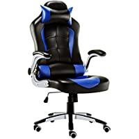 JL Comfurni Video Game Chairs Ergonomic Swivel Home Office Computer Desk Chair Faux Leather Racing Chair (Blue)
