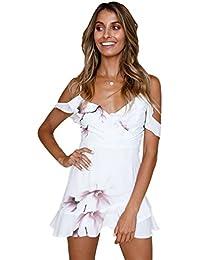 ab445471b21c Sentao Donna Estivo Vintage Vestito Senza Maniche Moda Elegante Boho  Stampato Cocktail Abiti da Sera Abito