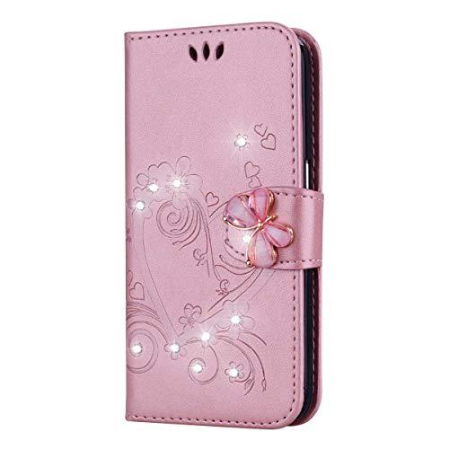 Bear Village Schutzhülle kompatibel mit Apple iPhone 6 / iPhone 6s, iPhone 6 / iPhone 6s Premium Leder Brieftasche mit Standfunktion und Kartenfach, Flip Schutzhülle, Rose Gold