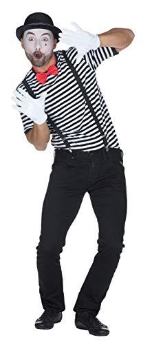 Rubie's Ringelshirt Kurzarm garngefärbt schwarz weiß gestreift Herren Karneval Pantomime Pirat ()