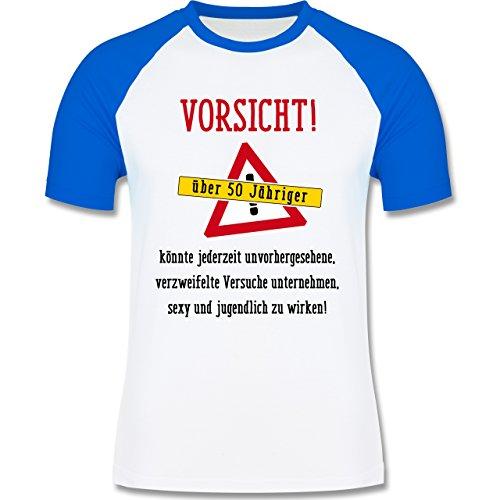 Geburtstag - Vorsicht 50-jähriger Fun Geschenk - zweifarbiges Baseballshirt für Männer Weiß/Royalblau