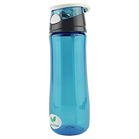 Ezyoutdoor Water Bottle BPA-Free Made for Running Gym Yoga Outdoors and Camping Bivouac Travel Backpacking Hunting Household Fast Water Flow Flip Top Opens With Click Durable Reusable blue