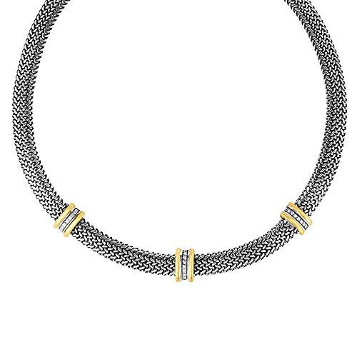 Sterling Silber Oxidiert 18ct Gelb Gold 10mm Kuppel Woven Halskette 0.3780CT Weiß Saphir–46Cent